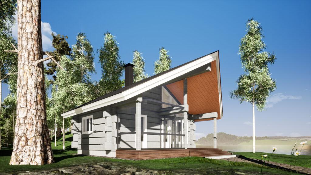 Mallikuva Luottopuun rakentamasta saunahuvilasta.